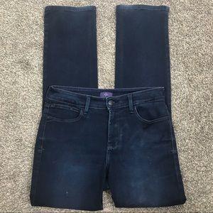 NYDJ dark wash straight leg stretch jeans, sz 8
